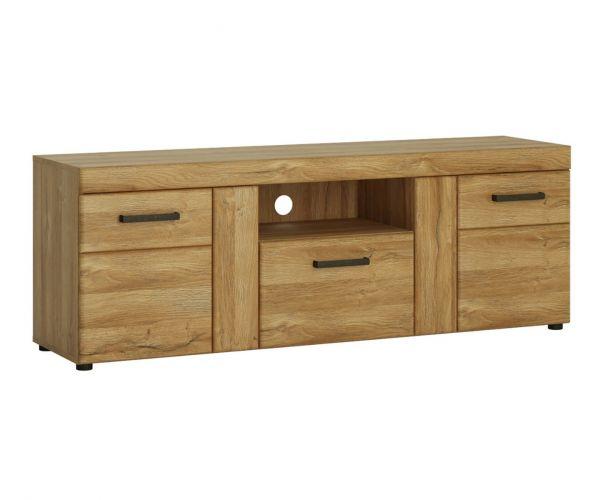 FTG Cortina Grandson Oak 2 Door 1 Drawer Tall TV cabinet