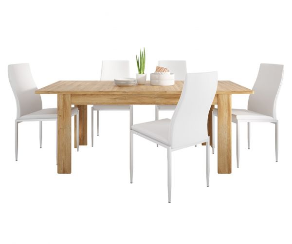 FTG Dining Set Package Cortina Grandson Oak Extending Dining Table with 4 Milan White High Back Chair