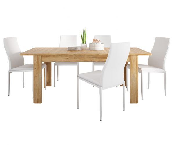 FTG Dining Set Package Cortina Grandson Oak Extending Dining Table with 6 Milan White High Back Chair