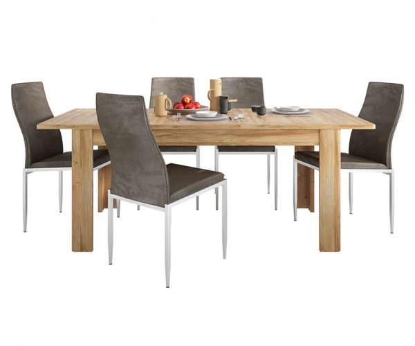 FTG Dining Set Package Cortina Grandson Oak Extending Dining Table with 6 Milan Dark Brown High Back Chair