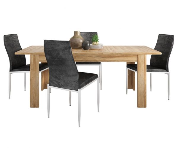 FTG Dining Set Package Cortina Grandson Oak Extending Dining Table with 6 Milan Black High Back Chair