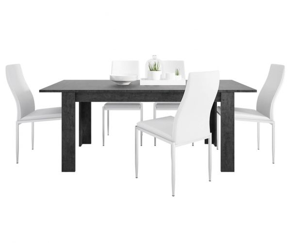 FTG Dining Set Package Zingaro Dining Table with 4 Milan White High Back Chair