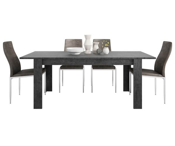 FTG Dining Set Package Zingaro Dining Table with 4 Milan Dark Brown High Back Chair