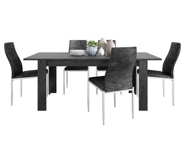 FTG Dining Set Package Zingaro Dining Table with 4 Milan Black High Back Chair