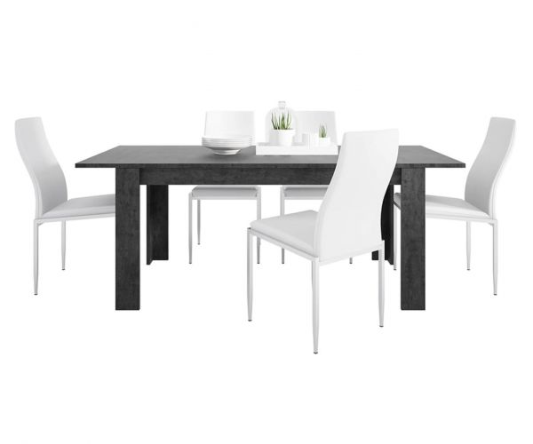 FTG Dining Set Package Zingaro Dining Table with 6 Milan White High Back Chair