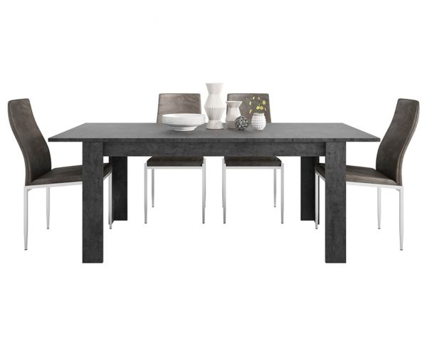 FTG Dining Set Package Zingaro Dining Table with 6 Milan Dark Brown High Back Chair