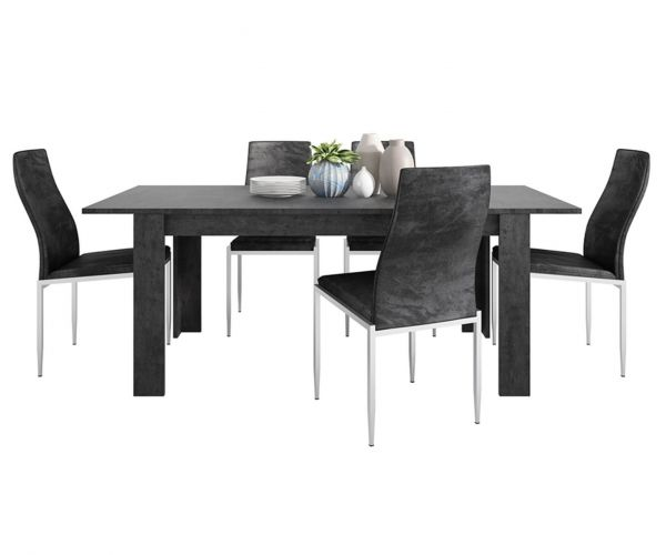 FTG Dining Set Package Zingaro Dining Table with 6 Milan Black High Back Chair