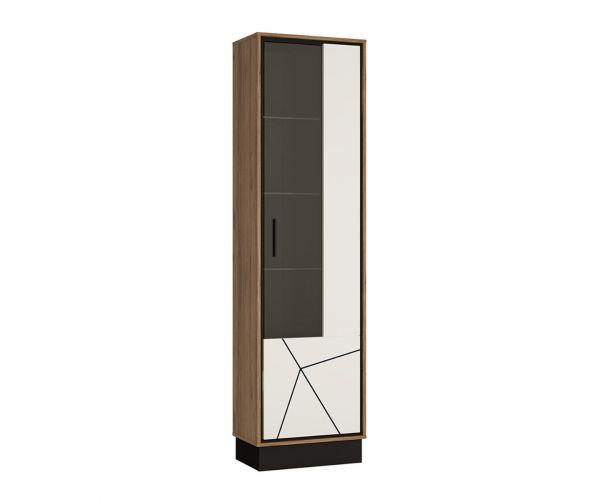 FTG Brolo Walnut and Dark Panel Finish Tall Glazed Display Cabinet (RH)