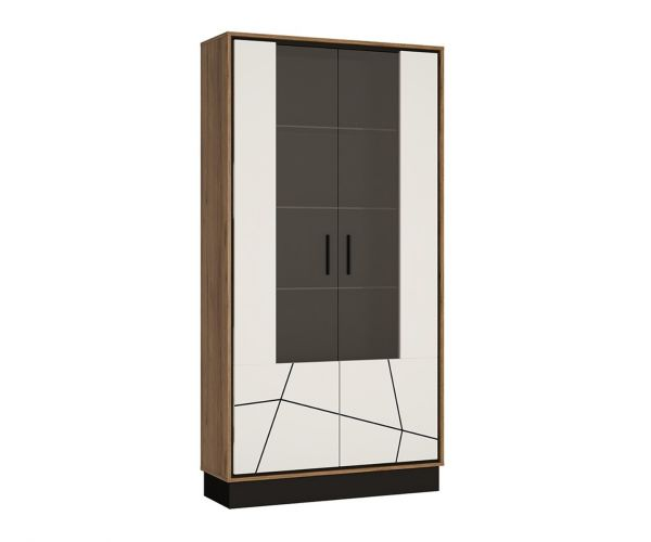 FTG Brolo Walnut and Dark Panel Finish Tall Wide Glazed Display Cabinet