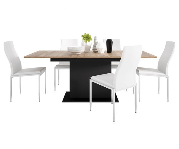 FTG Dining Set Package Brolo Extending Dining Table with 4 Milan White High Back Chair