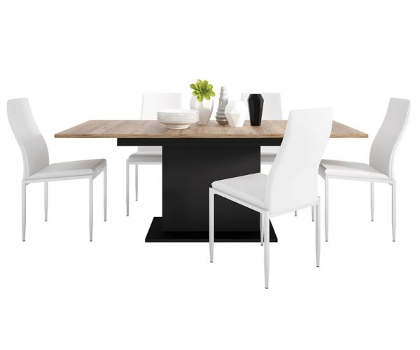 FTG Dining Set Package Brolo Extending Dining Table with 6 Milan White High Back Chair
