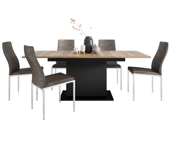 FTG Dining Set Package Brolo Extending Dining Table with 6 Milan Dark Brown High Back Chair