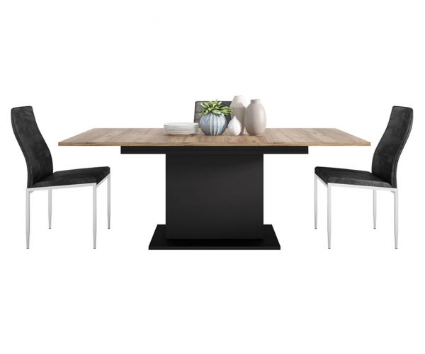 FTG Dining Set Package Brolo Extending Dining Table with 6 Milan Black High Back Chair