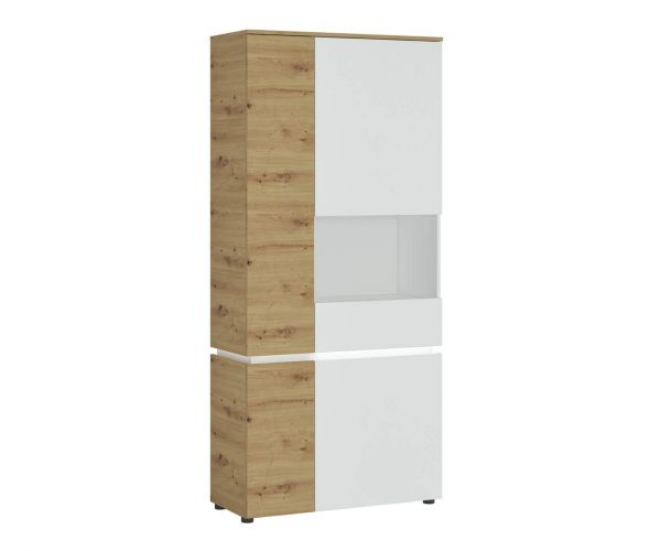 FTG Luci White and Oak 4 Door Tall Display Cabinet (RH)