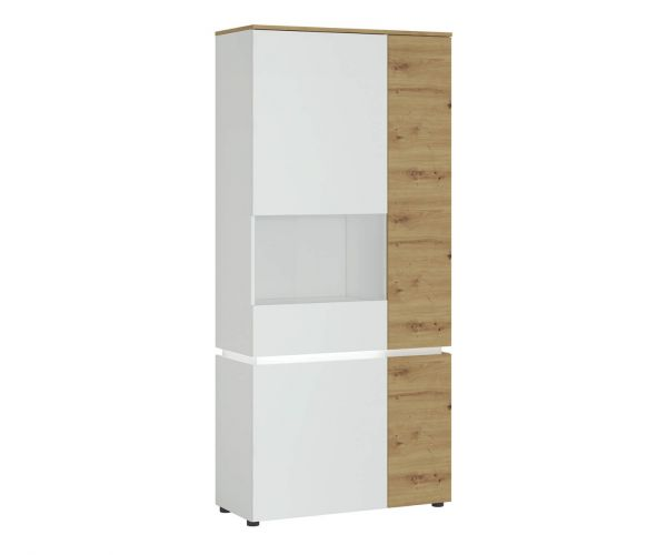 FTG Luci White and Oak 4 Door Tall Display Cabinet (LH)