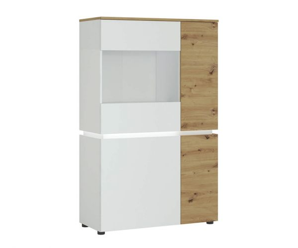 FTG Luci White and Oak 4 Door Low Display Cabinet