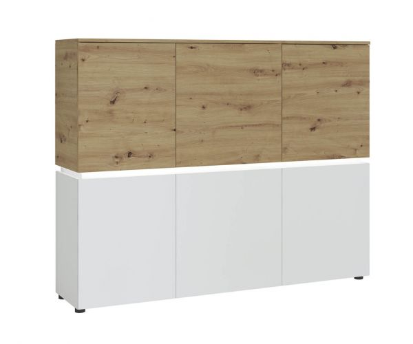 FTG Luci White and Oak 6 Door Cabinet