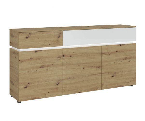 FTG Luci White and Oak 3 Door 2 Drawer Sideboard