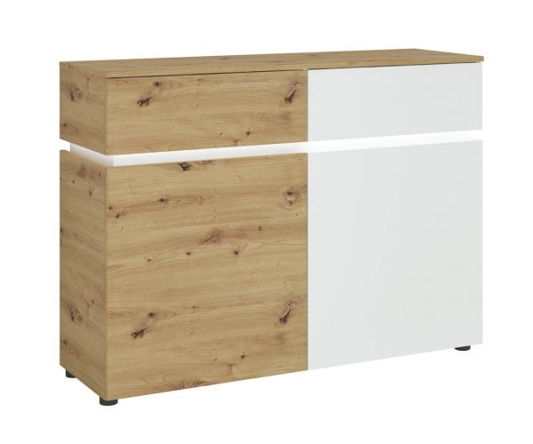 FTG Luci White and Oak 2 Door 2 Drawer Cabinet