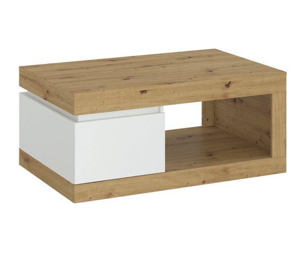 FTG Luci White and Oak 1 Drawer Coffee Table