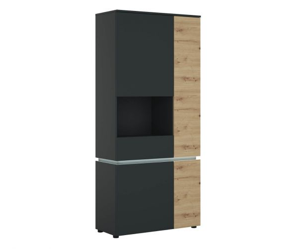 FTG Luci Platinum and Oak 4 Door Tall Display Cabinet (LH)