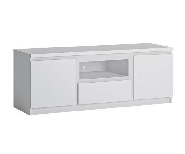 FTG Fribo White 2 Door 1 Drawer 136cm Wide TV Cabinet