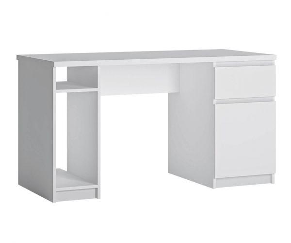 FTG Fribo White 1 Door 1 Drawer Twin Pedestal Desk