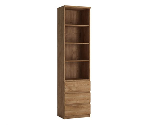 FTG Fribo Oak Tall Narrow 3 Drawer Bookcase