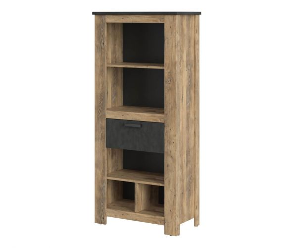 FTG Rapallo Chestnut and Matera Grey 1 Drawer Bookcase