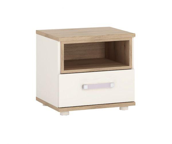 FTG 4Kids 1 Drawer Bedside Cabinet with Lilac Handles