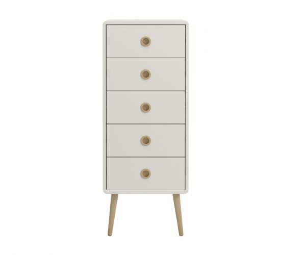 Steens Soft Line White 5 Narrow Drawer Chest