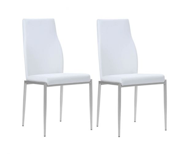 FTG Milan White Faux Leather High Back Dining Chair in Pair