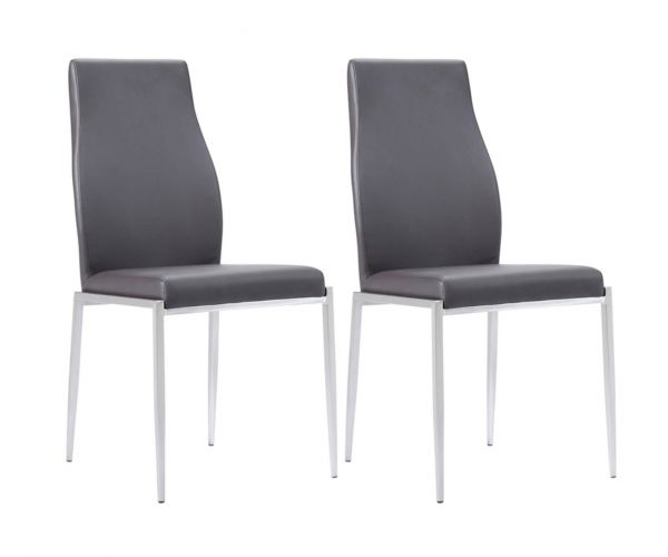 FTG Milan Dark Brown Faux Leather High Back Dining Chair in Pair