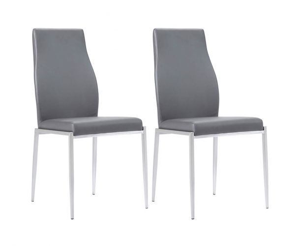 FTG Milan Grey Faux Leather High Back Dining Chair in Pair