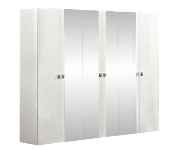 Camel Group Onda White High Gloss 6 Door Mirror Wardrobe