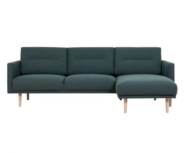 FTG Larvik Dark Green Chaiselongue Sofa (RH) with Oak Legs