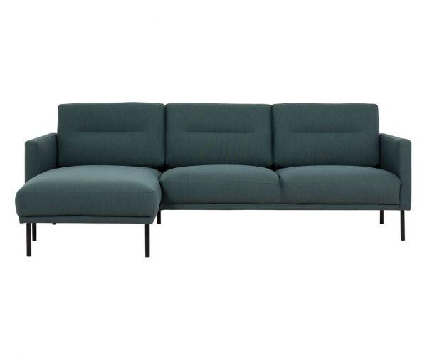 FTG Larvik Dark Green Chaiselongue Sofa (LH) with Black Legs