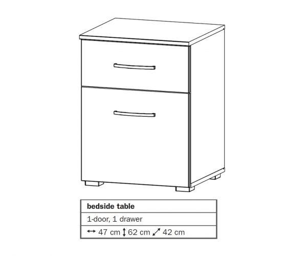 Rauch Aditio 1 Door 1 Drawer Bedside Table with Sonoma Oak Front