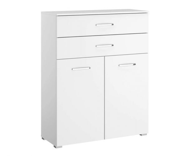 Rauch Aditio 2 Door 2 Upper Side Drawer Chest with Glass White Front