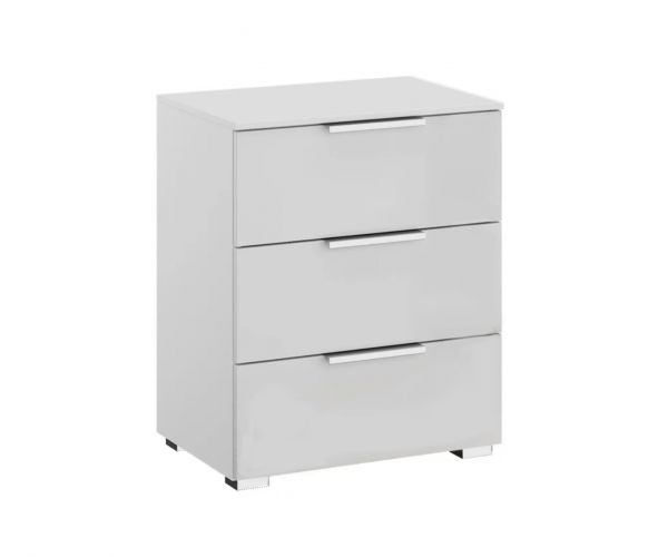 Rauch Texas Silk Grey Carcase with Alpine White Front 3 Drawer Bedside Table