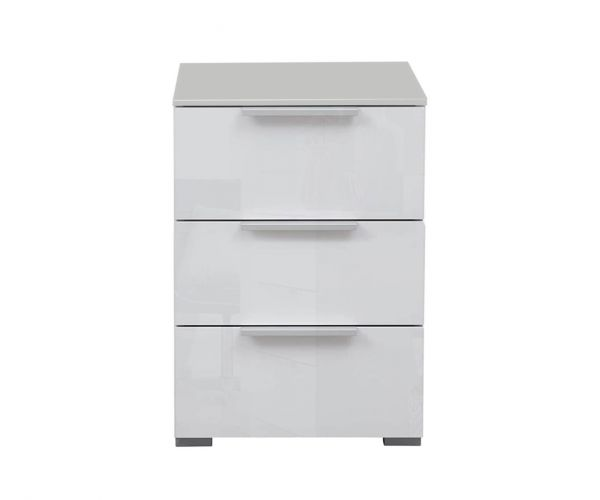 Rauch Memphis Alpine White Carcase with Silk Grey Front 3 Drawer Bedside Table
