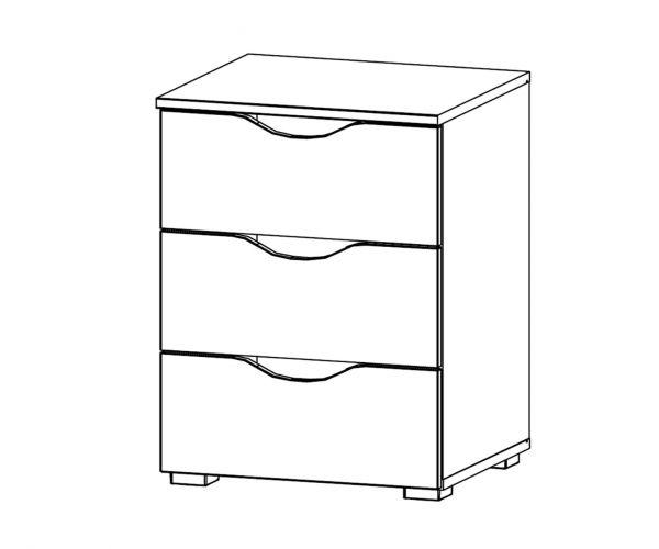 Rauch Arnstein Silk Grey Carcase with White Front 3 Drawer Bedside Cabinet
