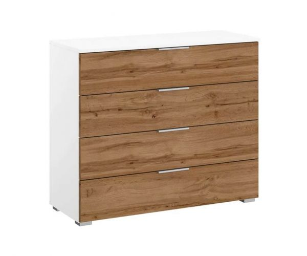 Rauch Bellezza Alpine White Carcase with White High Polish Front Wide 4 Drawer Chest with Wotan Oak Application