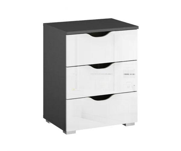 Rauch Arnstein Metallic Grey Carcase with White Front 3 Drawer Bedside Cabinet