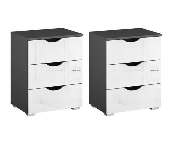 Rauch Arnstein Metallic Grey Carcase with White Front 3 Drawer Bedside Cabinet(Pair)