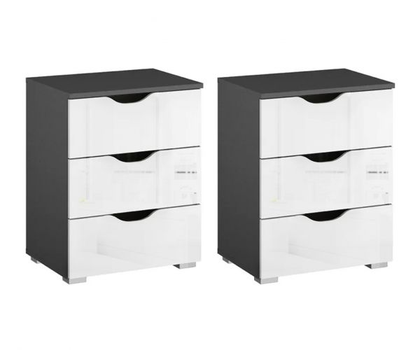 Rauch Arnstein Metallic Grey Carcase with High Polish White Front 3 Drawer Bedside Cabinet(Pair)