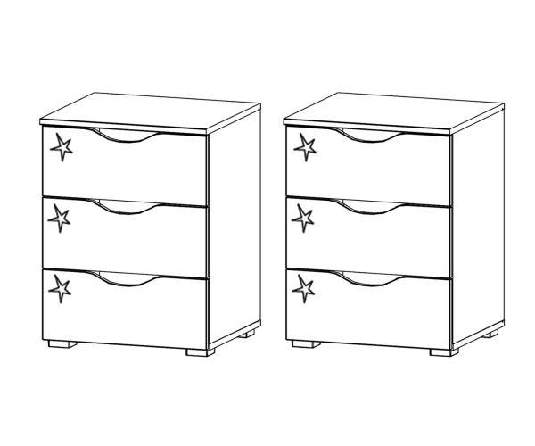 Rauch Arnstein Alpine White Carcase with High Polish White Front 3 Drawer Bedside Cabinet(Pair)