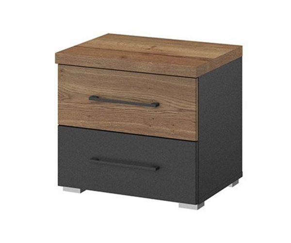 Rauch Halifax Metallic Grey 2 Drawer Bedside Table