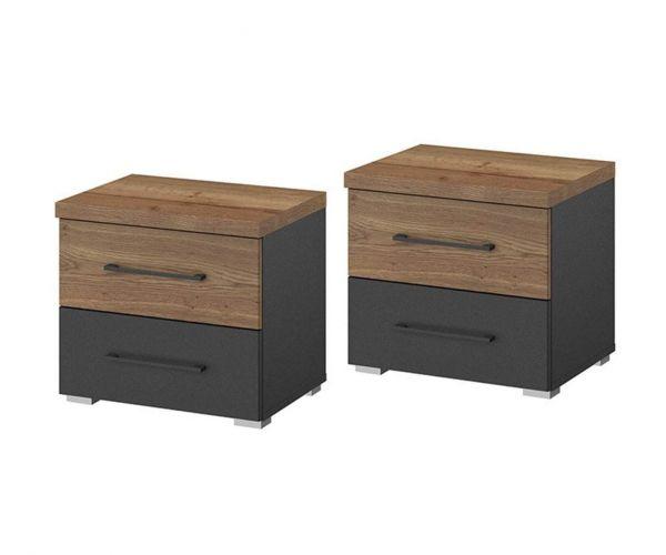 Rauch Halifax Metallic Grey 2 Drawer Bedside Table in Pair