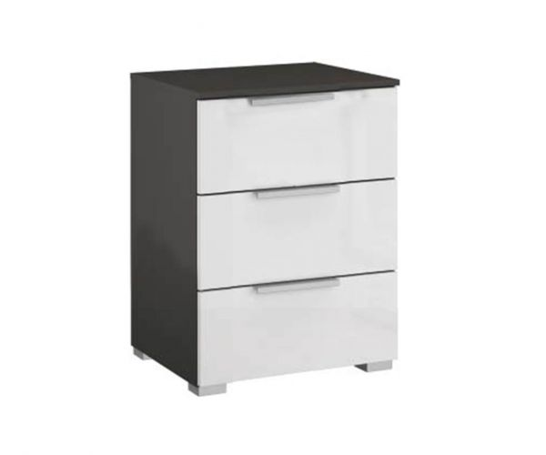 Rauch Caana Graphite Carcase with High Polish White 3 Drawer Bedside Table